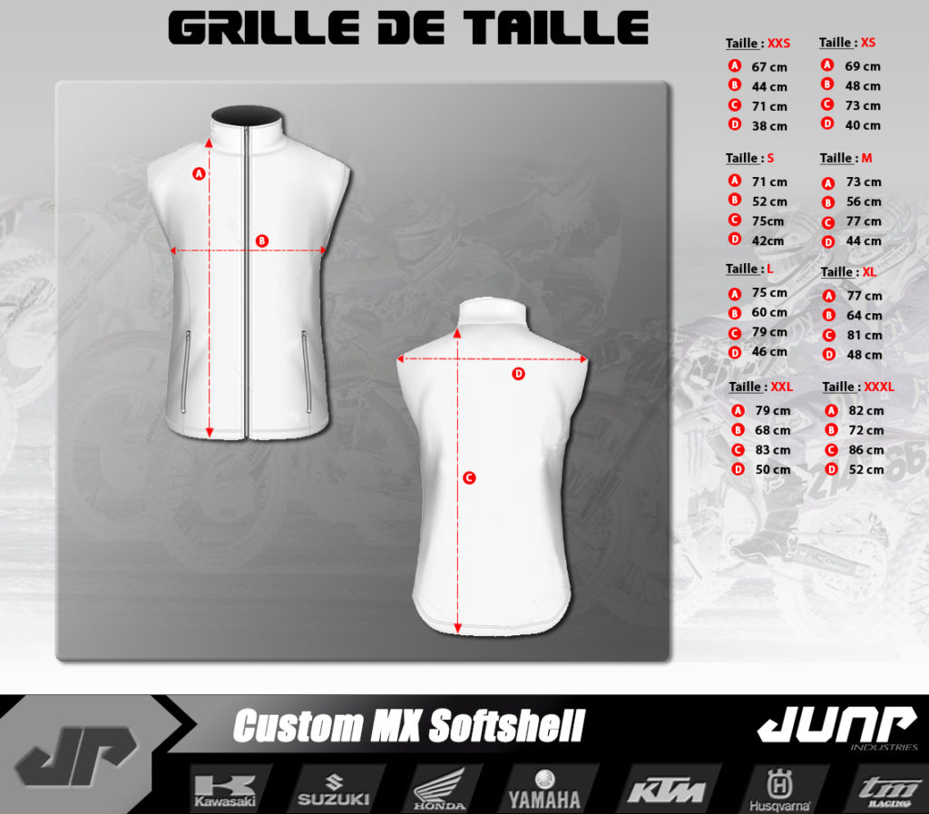 grille taille softshell jump industries