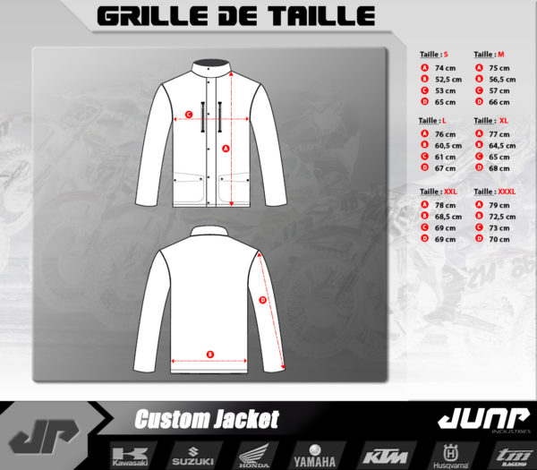 grille taille size chart veste jacket personnalise jump industries