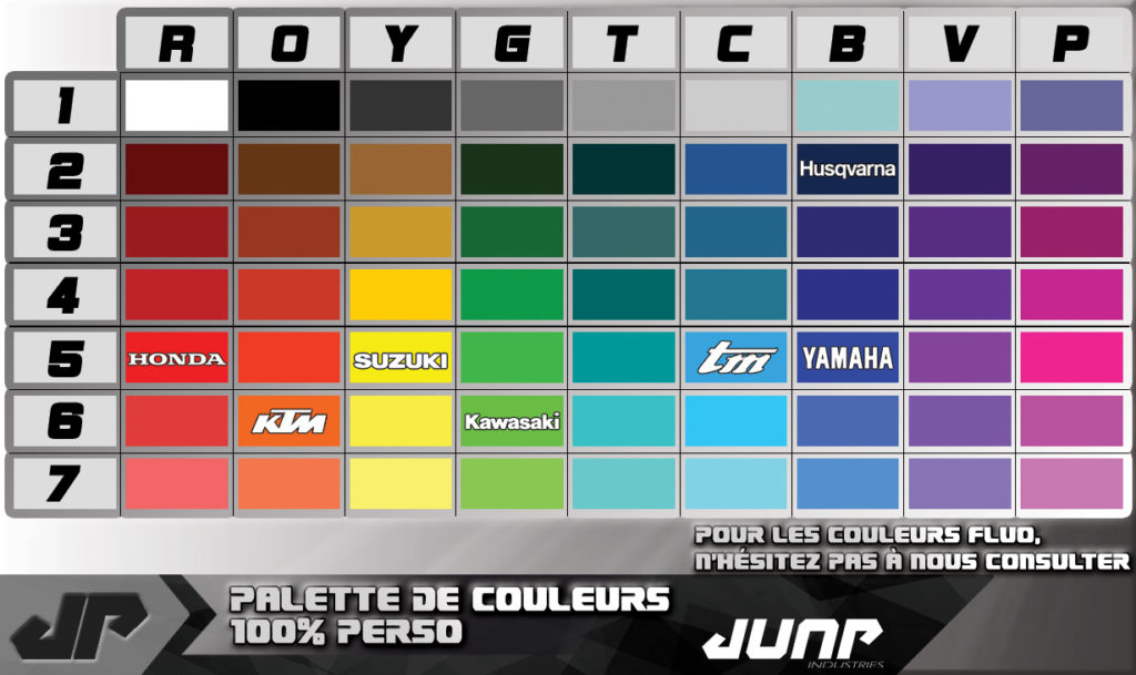 palette couleur jump industries personnalisation