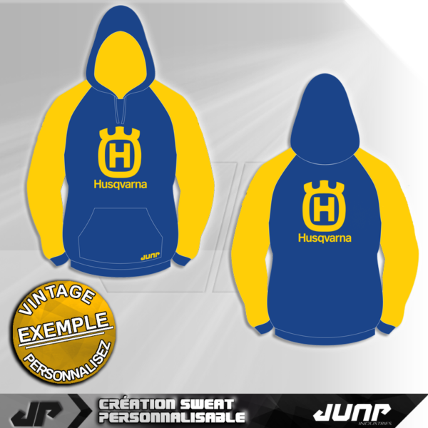 sweat capuche hoodie personnalise husqvarna jump industries