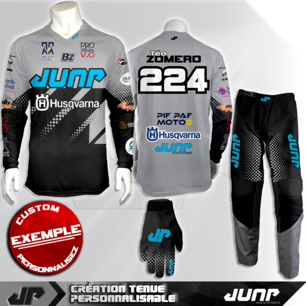 tenue personnalise custom mx outfit graychecked jump industries