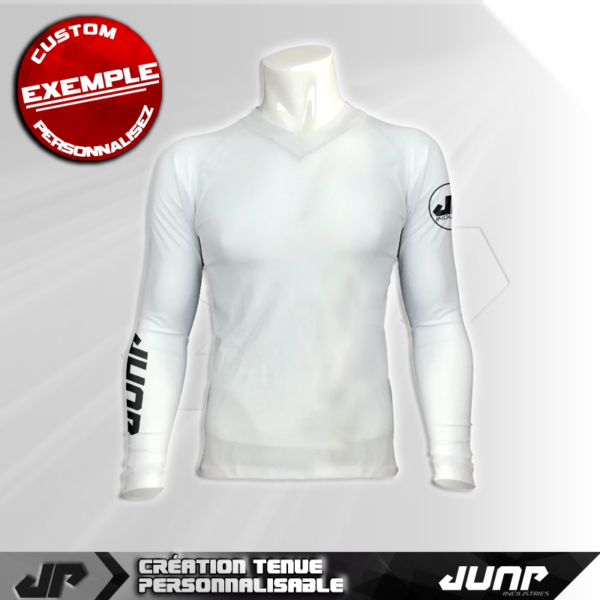 maillot slim compression blanc personnalise jump industries