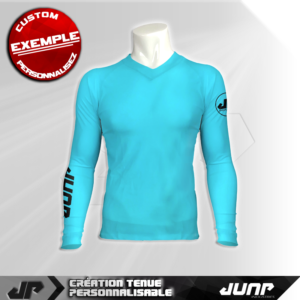 maillot slim compression cyan personnalise jump industries