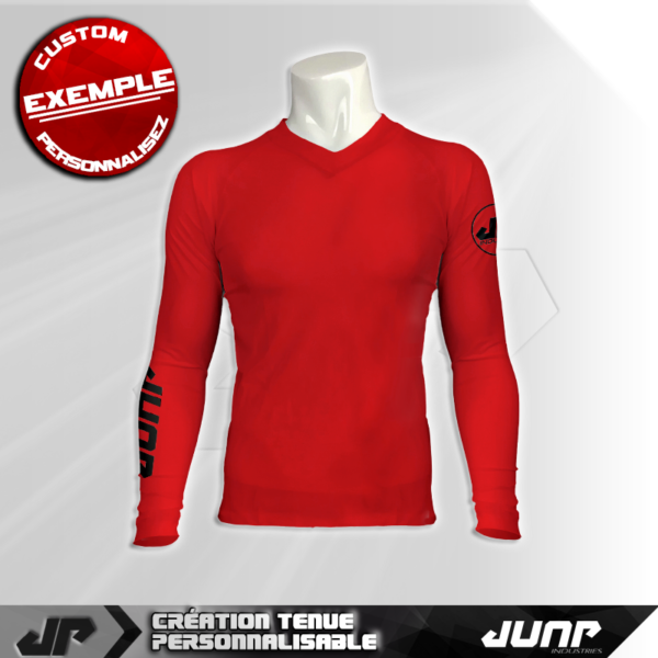 maillot slim compression rouge personnalise jump industries