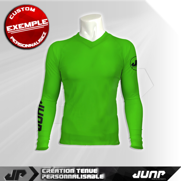 maillot slim compression vert personnalise jump industries