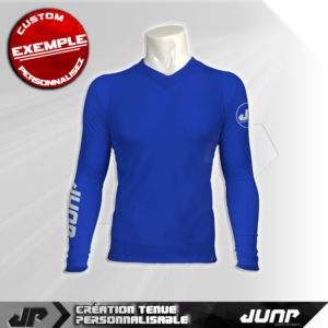 maillot slim compression bleu personnalise jump industries