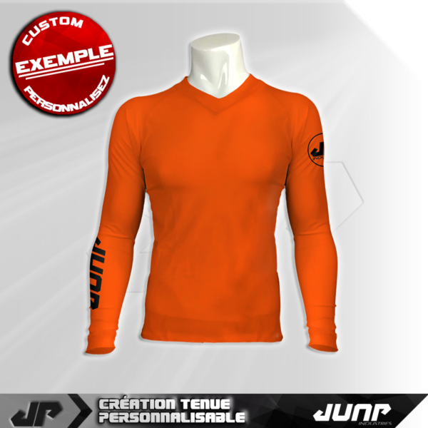 maillot slim compression orange personnalise jump industries