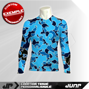 maillot slim compression camo bleu personnalise jump industries